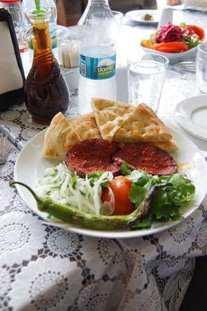 Lunch of frersh sausage and salad  in Safranbolu, Turkey