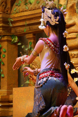 recital: SIEM REAP, CAMBODIA - FEB 14, 2015 - Line of apsara dancers perform at a recital,  Siem Reap,  Cambodia Editorial