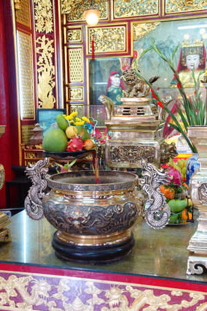 hoi an: HOI AN, VIETNAM - FEB 3, 2015 - Altar of a fertility deity,  Fukian Assembly Hall, Hoi An, Vietnam