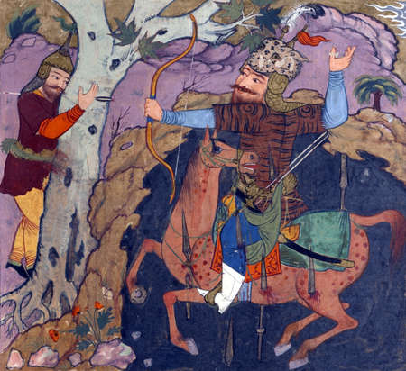 Rustam shoots Shaghad, Persian miniature from the Shahnamah