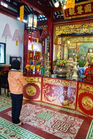 HOI AN, VIETNAM - FEB 3, 2015 - Altar of a fertility deity,  Fukian Assembly Hall, Hoi An, Vietnam