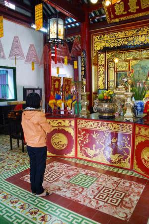 assembly hall: HOI AN, VIETNAM - FEB 3, 2015 - Altar of a fertility deity,  Fukian Assembly Hall, Hoi An, Vietnam