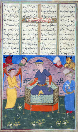 flanked: Jamshid enthroned flanked by an angel and a swordbearer., Persian miniature from the Shahnamah