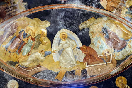adam and eve: ISTANBUL, TURKEY - MAY 15, 2014 - Fresco - Resurrection, Jesus Christ pulling Adam and Eve from their coffins in hell,  Parekklesion, Chora Church (Kariye Muzee ) in Istanbul, Turkey