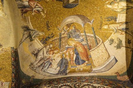 chora: ISTANBUL, TURKEY - MAY 15, 2014 - Presentation of Jesus to the temple, mosaic,  Inner Narthex, Chora Church (Kariye Museum) in Istanbul, Turkey Editorial