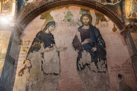 ISTANBUL, TURKEY - MAY 15, 2014 - Mary and Jesus, painting and  mosaic,  Inner Narthex, Chora Church (Kariye Museum) in Istanbul, Turkey