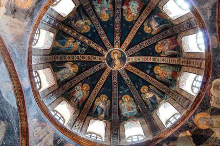 イスタンブール, トルコ - 2014 年 5 月 15 日 - 生神女、神の母、天使、モザイク、内側ナルテックス、カーリエ博物館 (カーリエ博物館)、トルコのイス
