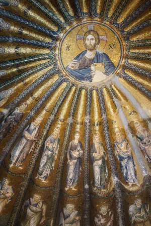 enthroned: ISTANBUL, TURKEY - MAY 15, 2014 - Biblical geneaology of Christ, mosaic,  Inner Narthex, Chora Church (Kariye Museum) in Istanbul, Turkey Editorial