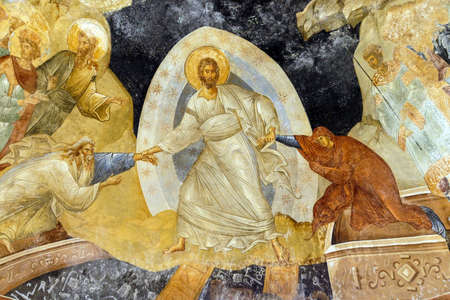 chora: ISTANBUL, TURKEY - MAY 15, 2014 - Fresco - Resurrection, Jesus Christ pulling Adam and Eve from their coffins in hell,  Parekklesion, Chora Church (Kariye Muzee ) in Istanbul, Turkey
