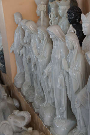 craft on marble: DANANG, VIETNAM  - FEB 4, 2015 - Marble statues of  the Virgin Mary, Danang,  Vietnam
