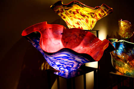 glasswork: SEATTLE - JUL 23, 2015 - Brightly colored macchia blown glassworks at the  Chihuly Garden and Glass Museum,  Seattle, Washington Editorial
