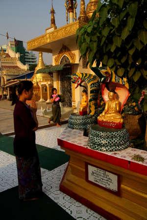 birth day: YANGON, MYANMAR - MAR 2, 2015 - Buddhists pray at the planetary post of their birth day,  Botataung Pagoda, Yangon,  Myanmar (Burma)