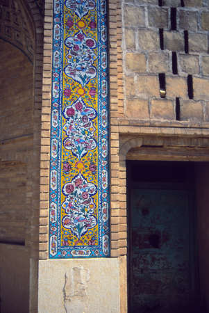 Floral mosaic detail, Madrese-e Khan (founded 1615)Shiraz, Iran, Middle East