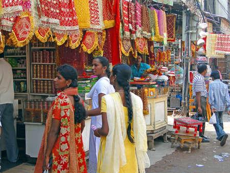 hyderabad: HYDERABAD, INDIA - NOV 21, 2009 - Young women shop for sarees in the Lal bazaarHyderabad, Andhra Pradesh, India, Asia