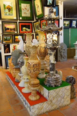craft on marble: HAIPHONG, VIETNAM - FEB 1, 2015 - Marble objects and other crafts on display near Haiphong,  Vietnam Editorial