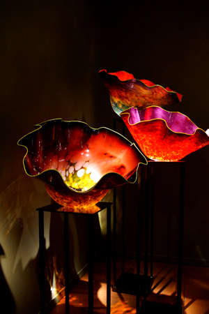 chihuly: SEATTLE - JUL 23, 2015 - Brightly colored macchia blown glassworks at the  Chihuly Garden and Glass Museum,  Seattle, Washington Editorial