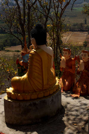 preach: Statue of Buddha preaching to his disciples,  Sambuk Mountain Monastery, Kratie,  Cambodia Editorial