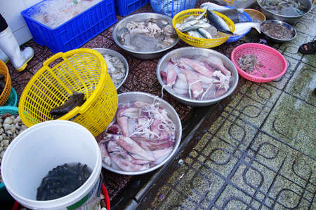 Fresh fish and other seafood for sale at the Ben Thanh market, Saigon (Ho Chi Minh City),  Vietnam Stock Photo