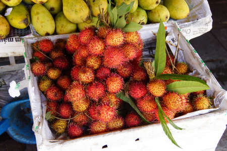 central market: Lychee fruit [ Litchi chinensis ]  with spiny outer shell,  at the Central Market of  Hoi An, Vietnam