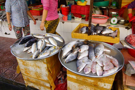 city fish market: Fresh fish and other seafood for sale at the Ben Thanh market, Saigon (Ho Chi Minh City),  Vietnam Stock Photo