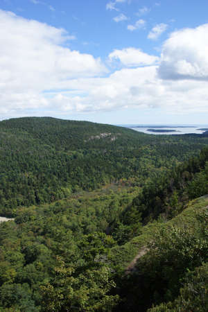 View to Bar Harbor from Cadillac Mountain, Mount Desert Island, Acadia National Park,Maine