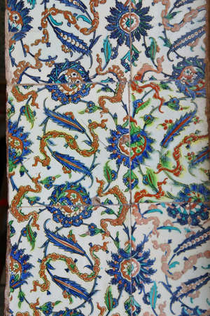 lapis: ISTANBUL, TURKEY  - MAY 18, 2014 -   Iznik lapis  tiles with tulip pattern on a wall  in the Harem  in Topkapi Palace,  in Istanbul, Turkey