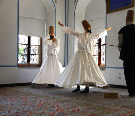 konya: KONYA, TURKEY - JUN 3, 2014 - Whirling dervish school display at Mevlana shrine in  Konya, Turkey