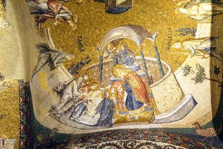 이스탄불, 터키 - 2014 년 5 월 15 일 - 사원, 모자이크, 내부 Narthex, 터키 이스탄불의 Chora 교회 (Kariye 박물관)에 예수 발표 에디토리얼