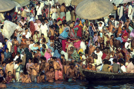 bathers: Ganges bathers at ghat for festival,  Varanasi  Benares, India