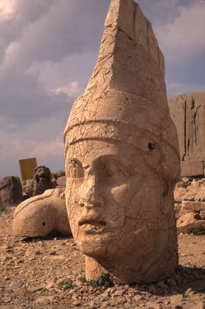 colossal: Antiochus, Nemrut Dag colossal statues guarding ancient tomb,Turkey
