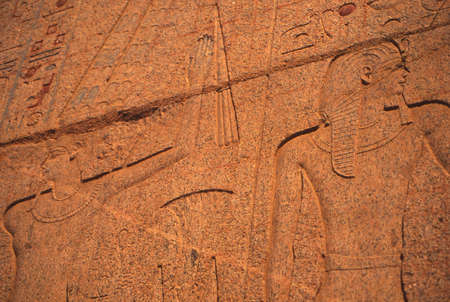 funerary: Carvings on the funerary temple of Hatshepsut, , Luxor, Egypt Stock Photo