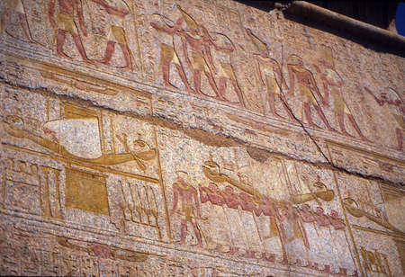 Carvings on the funerary temple of Hatshepsut, , Luxor, Egypt Reklamní fotografie
