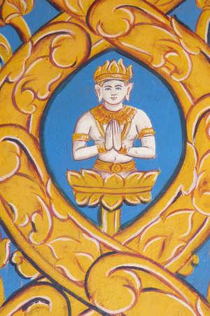 phnom penh: PHNOM PENH, CAMBODIA - FEB 8, 2015 - Buddha painting on hotel wall,  Phnom Penh,   Cambodia