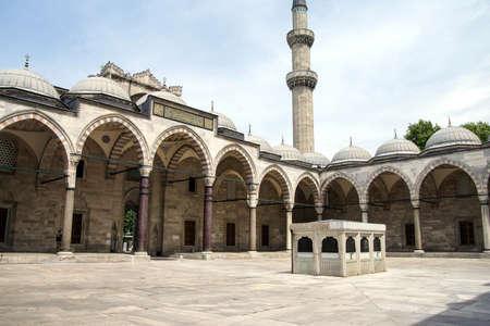 Interior courtyard and sardivan of the Suleymanie Mosque,  in Istanbul, Turkey
