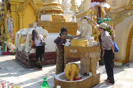 planetary: YANGON, MYANMAR - FEB 18, 2015 - Pagodas and Planetary stations on the platfiorm of Shwedagon Pagoda in Yangon,  Myanmar (Burma)