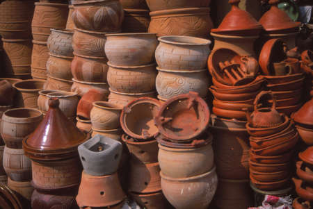 Tagine cookers and other cooking pottery in the bazaar market of , Meknes, Morocco