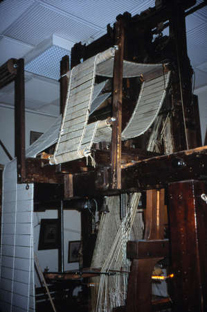LYON, FRANCE - MAR 16, 2001 - Punched cards for automated Jaquard loom making silk brocade, Lyon, France Editorial