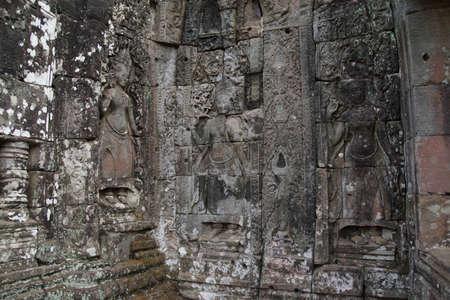 apsara: Apsara dancer deva on walls of  Bayon Temple, Angkor Thom,  Cambodia