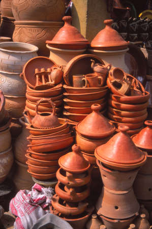 cookers: Tagine cookers and other cooking pottery in the bazaar market of , Meknes, Morocco