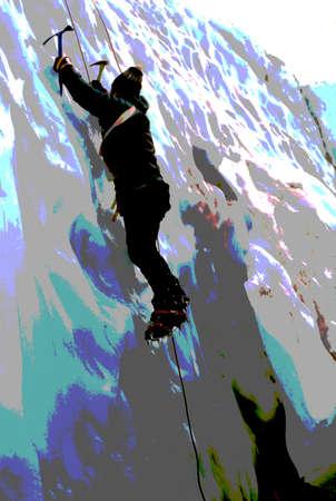 crevasse: MT RAINIER, WASHINGTON - AUG 1, 1976 - Ice climber ascending crevasse on the Nisqually Glacier in the National Park