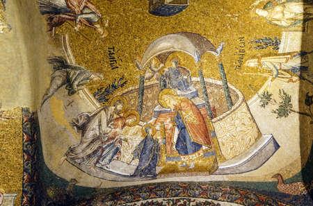 이스탄불, 터키 - 2014 년 5 월 15 일 - 사원, 모자이크, 내부 Narthex, 터키 이스탄불의 Chora 교회 (Kariye 박물관)에 예수 발표