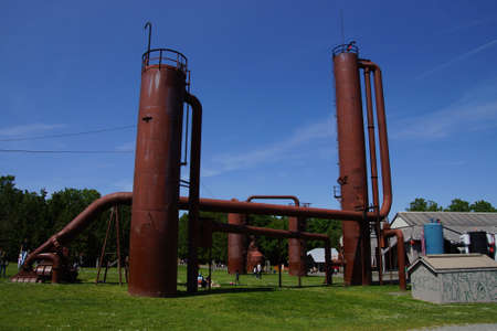 industrial park: SEATTLE - MAY 30, 2016 - Rusted industrial machinery, Gas Works Park