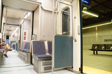 transit: SEATTLE - JUN 3, 2016 - Interior of Link Rapid Transit train in Seattle