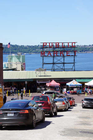 pike place market sign: SEATTLE - JUN 3, 2016 - Sign  for the Pike Place Public Market near  the Seattle waterfront Editorial