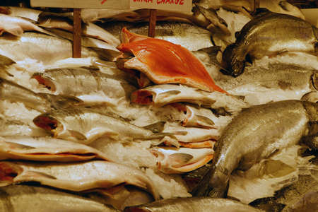 pike place: Fresh salmon for sale at the Pike Place Market