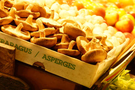 pike place: Mushrooms for sale in the high stalls at the Pike Place Market Stock Photo