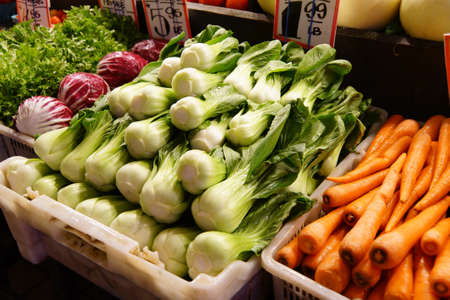 pike place: Bok choy for sale in the high stalls at the Pike Place Public Market , Seattle