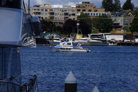patrol: SEATTLE - JUN 16, 2016 - Police boat on patrol on  Lake Union