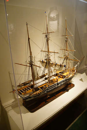 nautilus: ASTORIA, OREGON - OCT 1, 2015 - Model of whaling barque Nautilus,  Astoria, Oregon
