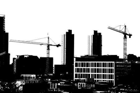 Hochhaus Baukräne in der Innenstadt von Seattle, Washington Standard-Bild - 60779612
